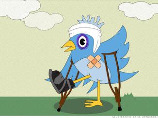 Twitter bird on crutches